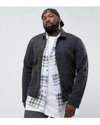 ASOS DESIGN - Asos Plus Denim Worker Jacket In Washed Black - Lyst