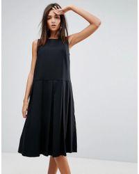 YMC - Pleat Wool Blend Dress - Lyst