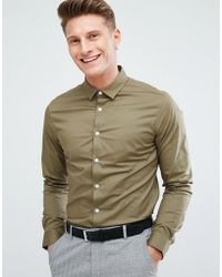 ASOS - Slim Shirt In Olive - Lyst