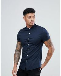 ASOS - Skinny Shirt With Grandad Collar In Navy - Lyst