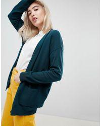 ASOS Boyfriend Cardigan In Fine Knit - Green