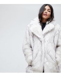 ASOS - Asos Design Tall Glam Oversized White Faux Fur - Lyst