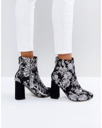 New Look | Floral Sequin Embellished Heeled Ankle Boot | Lyst