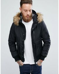Schott Nyc - Tornado Insulated Bomber Jacket Hooded Detachable Faux Fur Trim In Black - Lyst