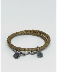 DIESEL - A-lucy Wrap Leather Bracelet In Olive - Lyst