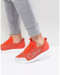 Calvin Klein - Ron Trainers In Orange Mesh - Lyst