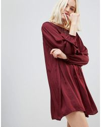 Hazel - Long Sleeved Lace Yolk Shift Dress - Lyst