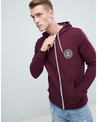 New Look - Zip Through Hoodie With Mcmxc Print In Burgundy - Lyst