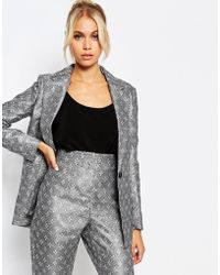 Fashion Union - Suit Jacket In Tile Print Co-ord - Lyst