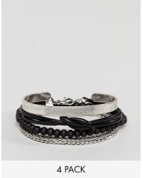 Stradivarius - Bracelets 4 Pack In Black And Silver - Lyst