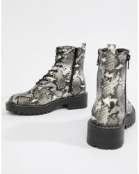 New Look - Lace Up Flat Hiker Boots In Snake Print - Lyst