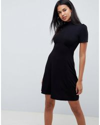 8be40e7bbd81 Lyst - ASOS 90s Skater Dress with Buttons and 3 4 Sleeves in Black
