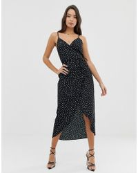 e4eff2ed86c ASOS Ruched Side Satin Maxi Slip in Natural - Lyst