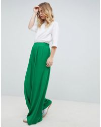 ASOS - Tailored Green Pop Wide Leg Trousers - Lyst