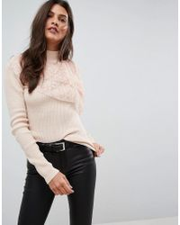 ASOS | Jumper With Pleated Lace Ruffle | Lyst