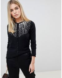 Fashion Union - Fitted Cardigan With Embellishment - Lyst