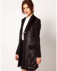 Warehouse - Fur Front Tailored Coat - Lyst