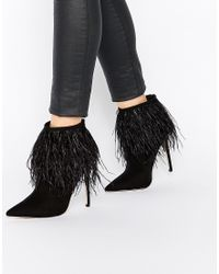 Little Mistress - Crawford Point Toe Heeled Boots With Feather Detail - Lyst