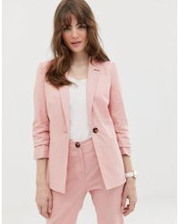ASOS - Linen Blazer With Ruched Sleeve - Lyst