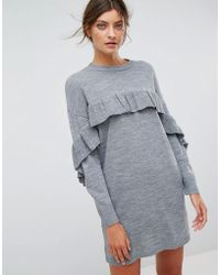 Stradivarius - Frill Knitted Dress - Lyst