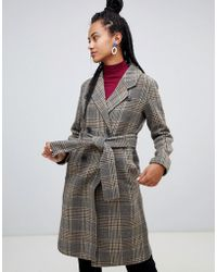 Mango - Check Tie Wasit Clean Coat In Brown - Lyst