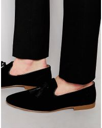 ASOS - Tassel Loafers In Black Suede With Natural Sole - Lyst