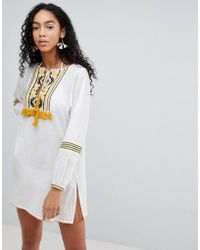 8b3c7a0bbe River Island Embroidered Tassel Beach Smock Dress in White - Lyst