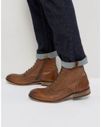 ASOS - Lace Up Brogue Boots In Tan Leather With Zips - Lyst