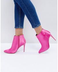 New Look - Satin Heeled Ankle Boot - Lyst
