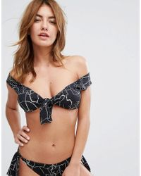 Lavish Alice   Off Shoulder Bikini Top In Cracked Print   Lyst