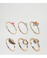 New Look - Summer Neon Stack Rings - Lyst