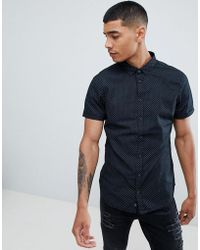 Blend - Short Sleeve Slim Fit Shirt With Micro Dot Print - Lyst