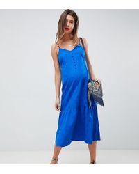 ASOS - Asos Design Maternity Pep Hem Midi Slip Dress In Jacquard - Lyst