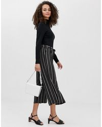 Brave Soul Francis Culottes In Stripe - Black