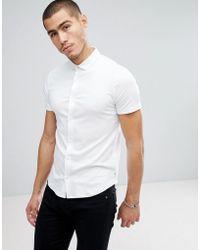 Emporio Armani   Slim Fit Mercerised Short Sleeve Shirt In White   Lyst