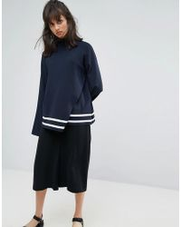 Weekday - Wrap Over Detail Knit Jumper With Contrast Stripe - Lyst