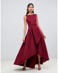 True Violet - Exklusives Maxi-Kleid aus Neopren mit nach hinten abfallendem Saum, Rckenausschnitt und Schleife in Rot - Lyst