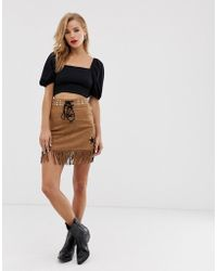 Glamorous - Faux Suede Mini Skirt With Tassle Trim - Lyst