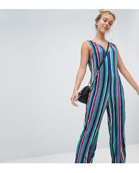 22a11aaa69 Lyst - Mango Deep V Floral Printed Jumpsuit In Multi in Blue