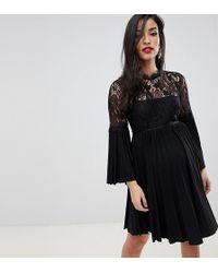 b4a32887c5ebf ASOS - Asos Design Maternity Lace And Pleat Mini Skater Dress - Lyst