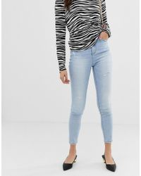 Stradivarius - Super High Waisted Skinny Jeans In Light Blue - Lyst