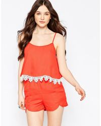 Girls On Film - Playsuit With Lace Detail - Lyst