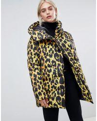 ASOS - Leopard Longline Puffer - Lyst