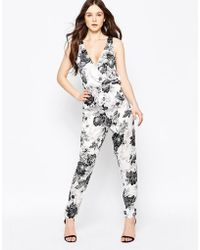 Girls On Film - Floral Jumpsuit With Lace Back - Lyst