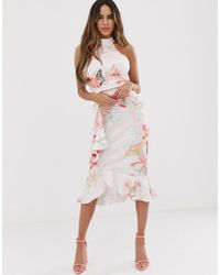 Lipsy High Neck Bodycon Midi Dress With Frill Detail In Floral Print - Multicolour