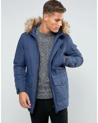 ASOS - Parka Jacket With Faux Fur Trim In Navy - Lyst