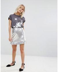 Mango - Silver And Frill Peplum Skirt - Lyst