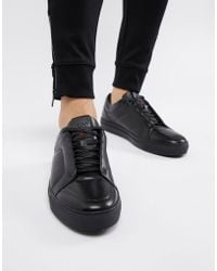 HUGO - Futurism Low Leather Trainer In Black - Lyst