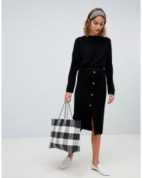 Stradivarius - Ribbed And Button Detail Skirt Two-piece - Lyst