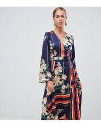 Boohoo - Kimono Sleeve Midi Dress In Mixed Stripe And Floral Print - Lyst